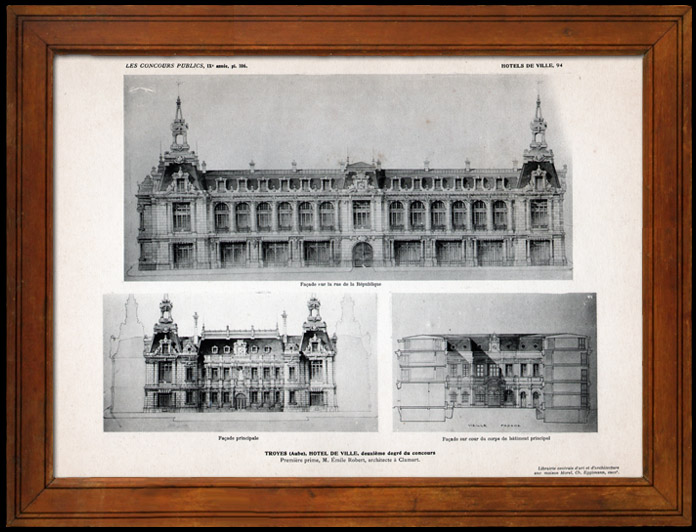 Antique Prints & Drawings   Drawing of Architect - Architecture - Troyes - City Hall - Pl. 106 (Emile Robert)   Heliogravure   1906
