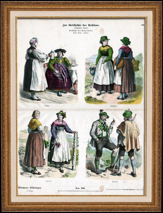 Gravures Anciennes & Dessins | Costume Allemand - Mode Allemande - Uniforme - Allemagne - Bavière - Dachau - Rosenheim - Miesbach | Gravure sur bois | 1870
