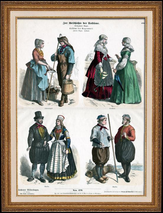 Stampe Antiche & Disegni | Costume Olandese - Moda Olandese - Olanda - L'Aia - Scheveningen - Frisia (19 Secolo - XIX Secolo) | Incisione xilografica | 1870