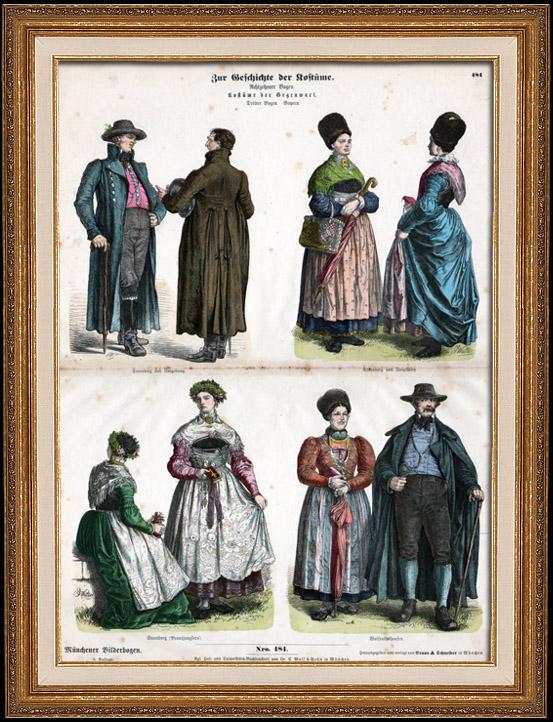 Gravures Anciennes & Dessins | Costume Allemand - Mode Allemande - Uniforme - Allemagne - Bavière - Starnberg - Wolfrathshausen (19ème Siècle - XIXème Siècle) | Gravure sur bois | 1870
