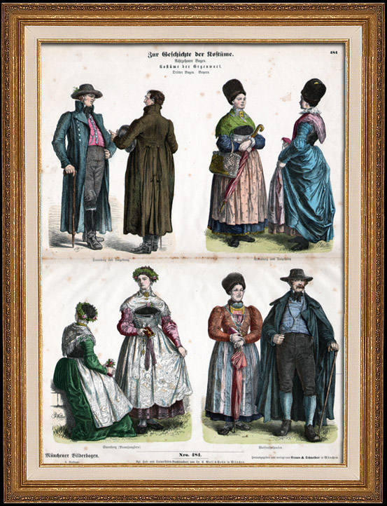 Antique Prints German Costume German Fashion Uniform