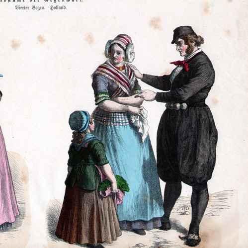 Wood engraving | 1870 | Dutch Costume - Dutch Fashion - Uniform - Holland  (19th Century - XIXth Century)