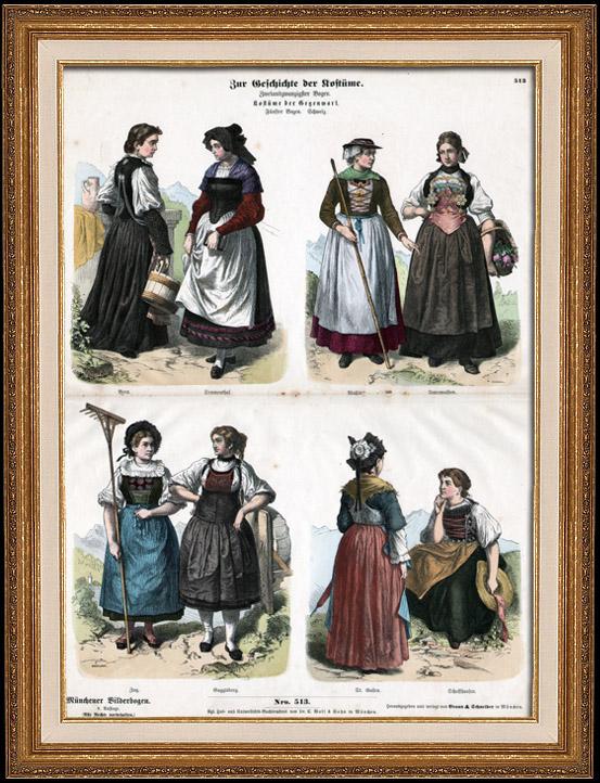 Antique Prints & Drawings   Swiss Costume - Swiss Fashion - Uniform - Switzerland - St. Gallen - Berne - Valais - Simmenthal - Schaffhausen - Guggisberg (19th Century - XIXth Century)   Wood engraving   1870