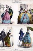 Grabado antiguo - Traje Francés - Moda Francesa - Francia (Siglo 18 - Siglo XVIII)