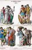 Gravura antiga - Traje Grego - Roupa - Moda Grega - Grécia Antiga