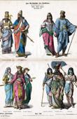 Grabado de Traje Egipcio - Moda Egipcia - Antiguo Egipto - Asiria