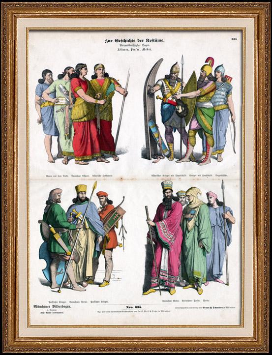 Gravures Anciennes & Dessins   Costume Assyrien - Costume Persan - Mode Assyrienne - Uniforme Militaire - Assyrie - Perse   Gravure sur bois   1870