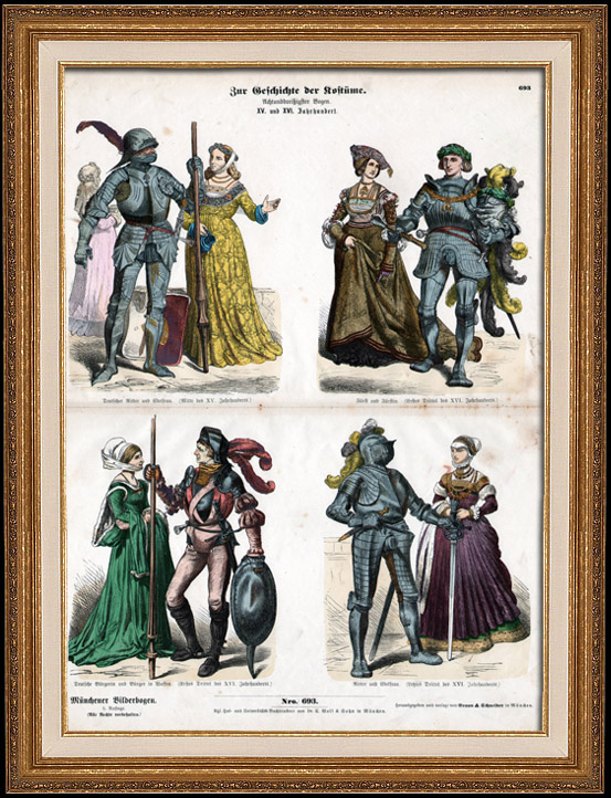 Antique Prints German Costume German Fashion