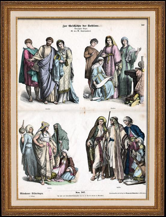 Antique Prints & Drawings | Arab Costume - Arabic Fashion - Christian Costume (4th Century - IVth Century) | Wood engraving | 1870