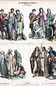 Gravura antiga - Traje Árabe - Roupa - Moda Árabe - Traje Cristão (Século 4 - Século IV)