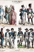 Antique print - French Costume - Military Uniform - Napoleonic Wars - France - Napoleonic Soldier - Grognard - Infantry - Cavalry - Grenadier (18th Century - XVIIIth Century)