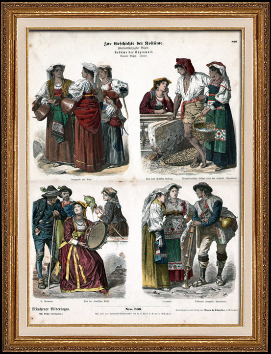Antique Prints & Drawings | Italian Costume - Italian Fashion - Italy - Rome - Naples - San Germano - Genzano - Pifferaro - Neapolitan Fisherman (19th Century -  XIXth Century) | Wood engraving | 1870