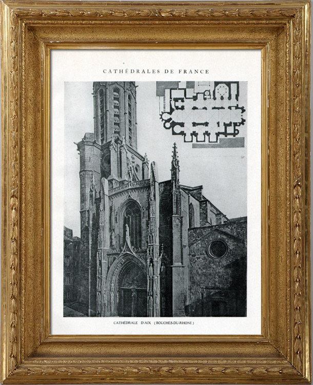 Antique Prints & Drawings | Cathedral of Aix-en-Provence (Bouches-du-Rhone - France) | Heliotypie | 1926