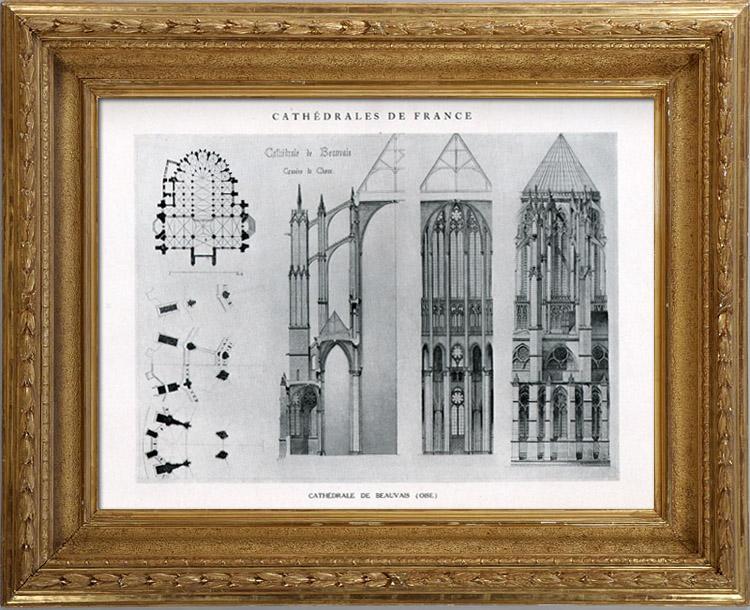 Oude prenten bouwtekening bouwplan kathedraal van beauvais oise frankrijk heliotypie - Moulure architectuur ...