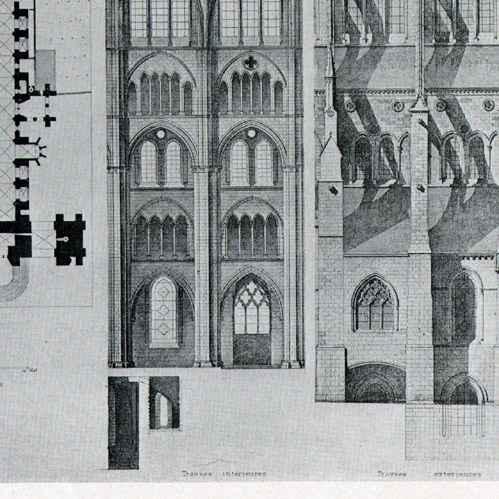 gravures anciennes dessin d 39 architecte cath drale de bourges cher france h liotypie 1926. Black Bedroom Furniture Sets. Home Design Ideas