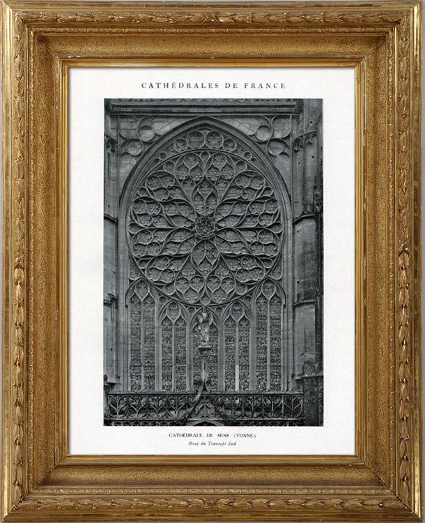 Gravures Anciennes & Dessins   Cathédrale de Sens - Rose du Transept Sud (Yonne - France)   Héliotypie   1926