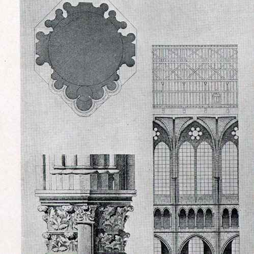 grabados antiguos dibujo de arquitecto catedral saint gervais et saint protais de soissons. Black Bedroom Furniture Sets. Home Design Ideas