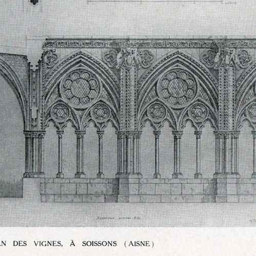 stampe antiche disegno di architetto monumento storico chiostro abbazia saint jean des. Black Bedroom Furniture Sets. Home Design Ideas