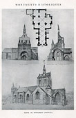 Drawing of Architect - Historic Monument - Church of Pontorson (Manche - France)