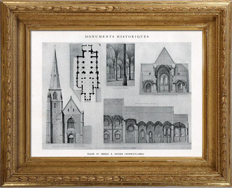 Gravures Anciennes & Dessins   Dessin d'Architecte - Monument Historique - Eglise Saint Serges de Angers (Maine-et-Loire - France)   Héliotypie   1926