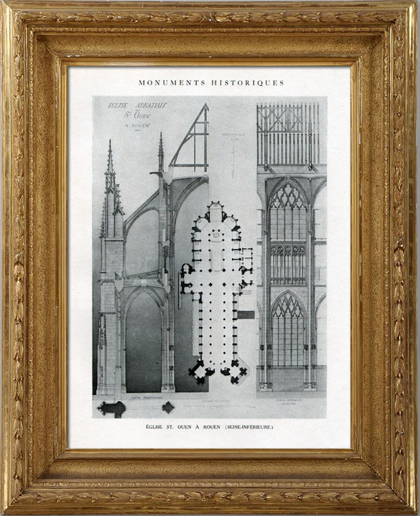 gravures anciennes dessin d 39 architecte monument historique eglise abbatiale de saint ouen. Black Bedroom Furniture Sets. Home Design Ideas