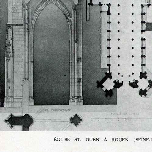 gravures anciennes dessin d 39 architecte monument historique eglise abbatiale de saint ouen. Black Bedroom Furniture Sets. Home Design Ideas