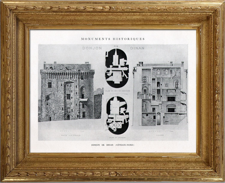 Gravures Anciennes & Dessins   Dessin d'Architecte - Monument Historique - Donjon de Dinan (Côtes-du-Nord - France)   Héliotypie   1926