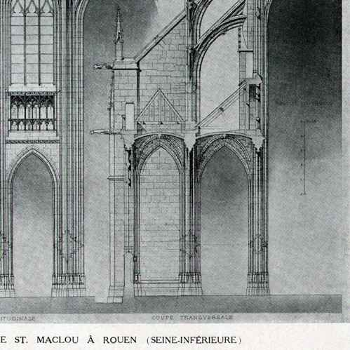 Gravures anciennes dessin d 39 architecte monument historique eglise s - Saint maclou tapisserie ...