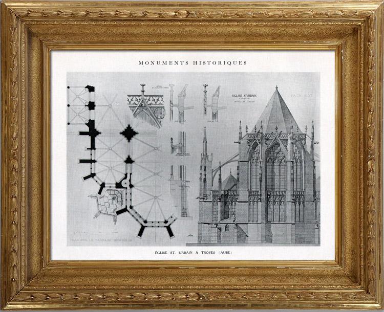 Gravures Anciennes & Dessins   Dessin d'Architecte - Monument Historique - Eglise Saint Urbain à Troyes (Aube - France)   Héliotypie   1926