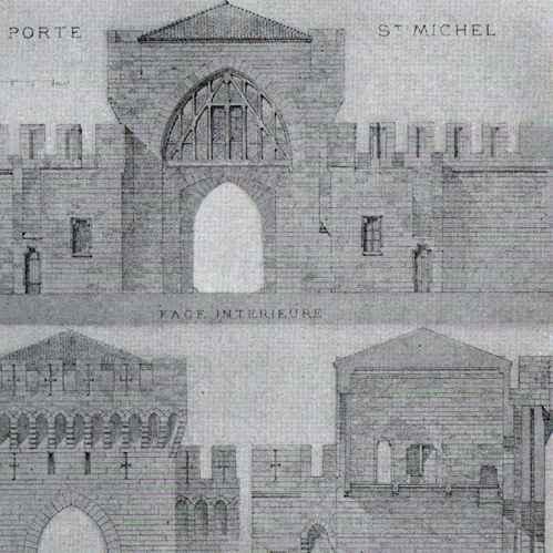 Gravures anciennes dessin d 39 architecte monument historique fortification porte saint - Porte saint dominique avignon ...