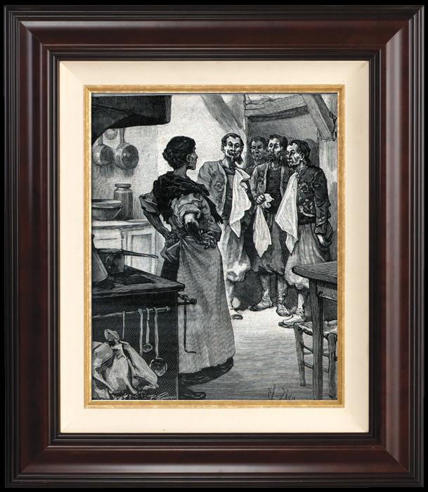 Gravures Anciennes & Dessins | Campagne de Madagascar - Zouaves - Colonialisme - Colonisation Française - La Cantinière du 13e (Georges Le Faure) | Gravure sur bois | 1896