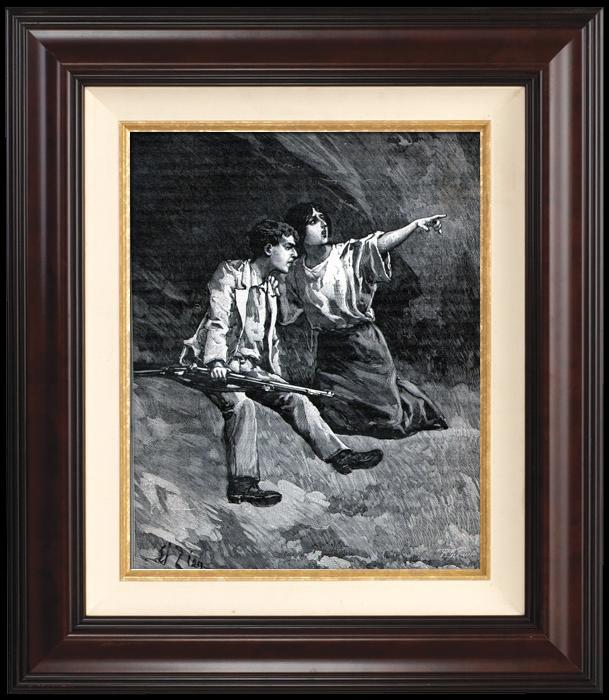 Gravures Anciennes & Dessins   Campagne de Madagascar - Zouaves - Colonialisme - Colonisation Française - La Cantinière du 13e (Georges Le Faure)   Gravure sur bois   1896