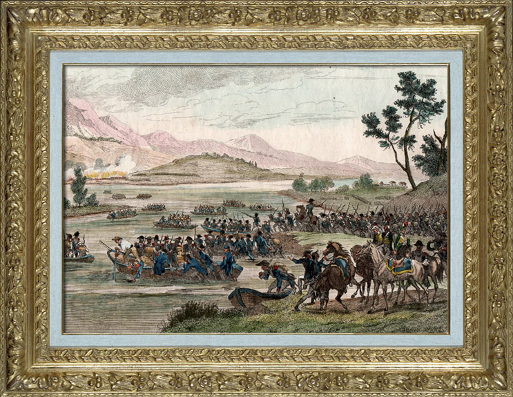 Antique Prints & Drawings | Napoleonic Wars - Diershein - Crossing of the Rhine before the Battle of Diersheim - French Victory under General Moreau against the Austrians under General Staray (1797) | Intaglio print | 1837