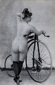 Print of French Erotic Daguerreotype - Female Nude - Woman with her Bicycle