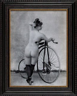French Erotic Daguerreotype - Female Nude - Woman with her Bicycle