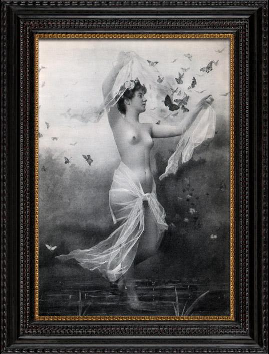 Gravures Anciennes & Dessins | Daguerréotype érotique Français - Nu Féminin - La Nymphe Nue Entourée par des Papillons | Héliogravure | 1930