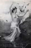 French Erotic Daguerreotype - Female Nude - The Naked Nymph Surrounded by Butterflies