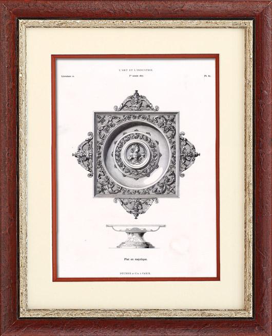 Antique Prints & Drawings   Maiolica  Dish   Typogravure   1877
