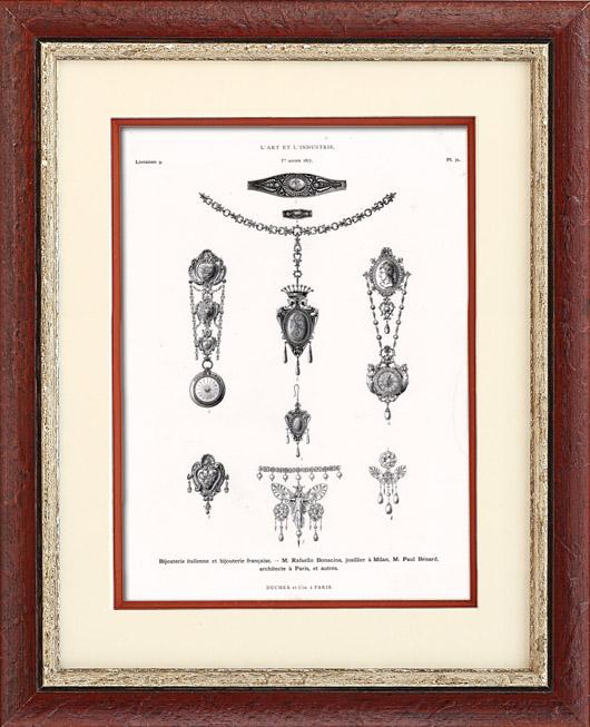 Gravures Anciennes & Dessins | Bijouterie Italienne et Bijouterie Française - Rafaelo Bonacina (Milan) et Paul Bénard (Paris) | Typogravure | 1877