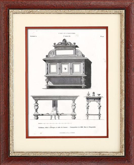 Gravures Anciennes & Dessins | Meubles Anciens - Crédence Table à allonges Table de Fumeur - Ihne et Stegmuller | Typogravure | 1877