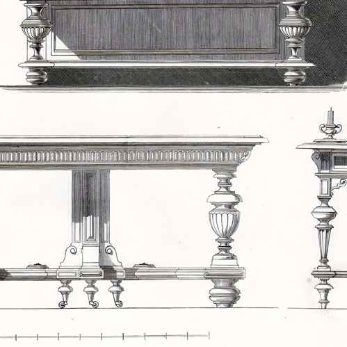 Gravures anciennes gravure de meubles anciens cr dence for Meuble credence ancienne