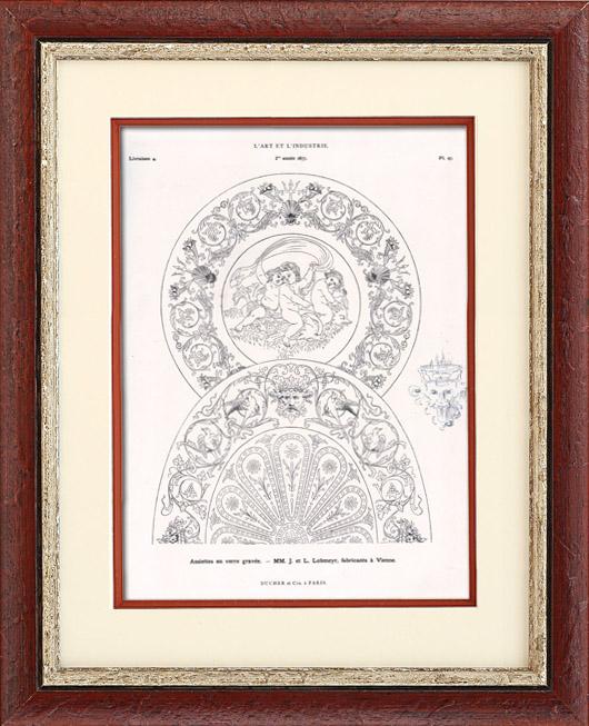 Antique Prints & Drawings   Dishes - J. et L. Lobmeyr (Vienna)   Typogravure   1877