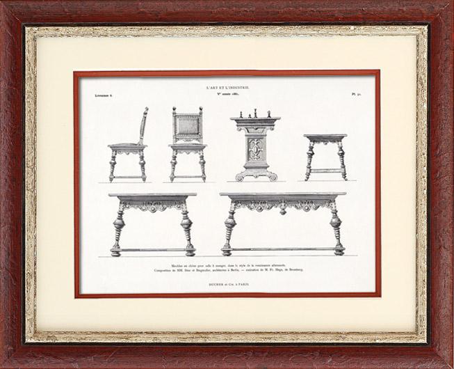 antique prints oak antique furniture ihne and. Black Bedroom Furniture Sets. Home Design Ideas