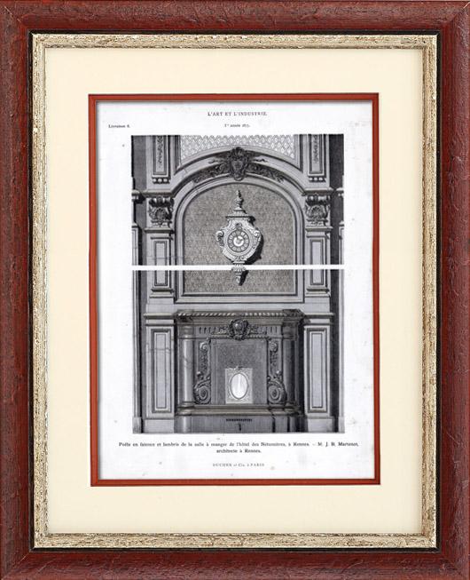Antique Prints & Drawings | Faience Stove - Hôtel des Nétumières - J.B. Martenot (Rennes) France | Typogravure | 1877
