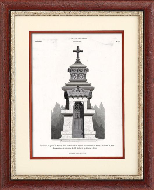 Antique Prints & Drawings   Granite and Bronze Sepulchre - Père Lachaise Cemetery Paris -  M. Lethorel (Paris)   Typogravure   1877