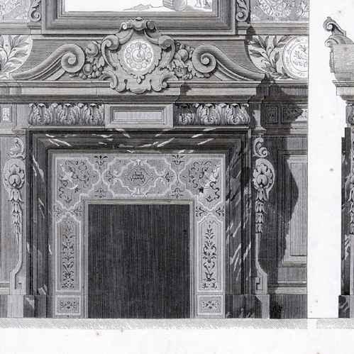 gravures anciennes gravure de chemin e pour une salle manger m l ofanti peintre rennes. Black Bedroom Furniture Sets. Home Design Ideas