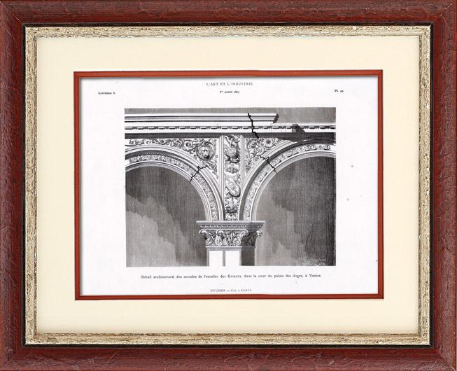 Gravures Anciennes & Dessins   Arcades de l'Escalier des Géants du Palais des Doges à Venise   Typogravure   1877