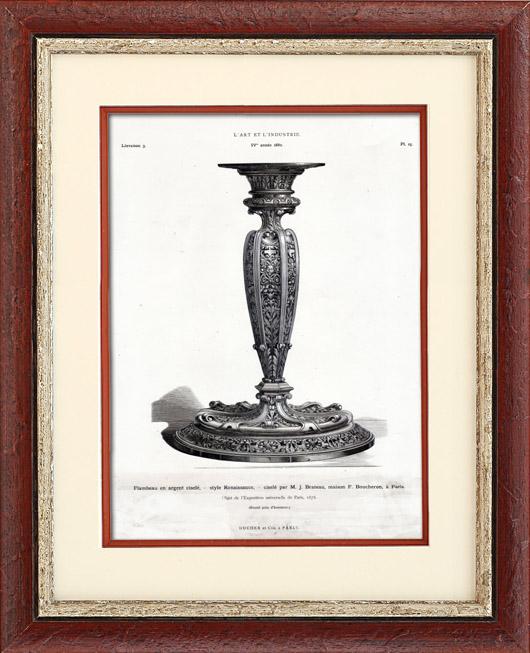 gravures anciennes flambeau en argent cisel style renaissance cisel par j brateau. Black Bedroom Furniture Sets. Home Design Ideas