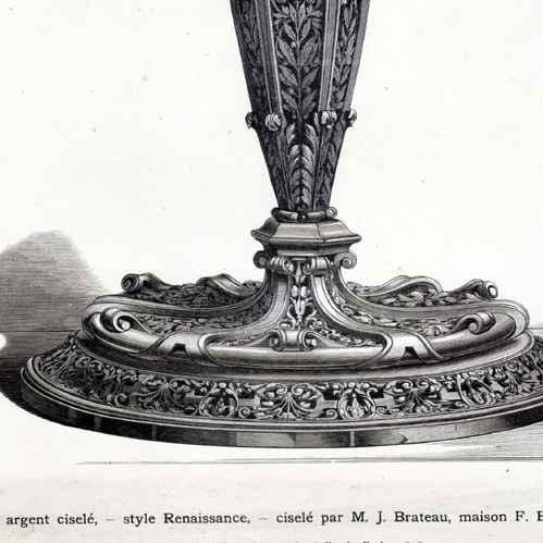 gravures anciennes gravure de flambeau en argent cisel style renaissance cisel par j. Black Bedroom Furniture Sets. Home Design Ideas
