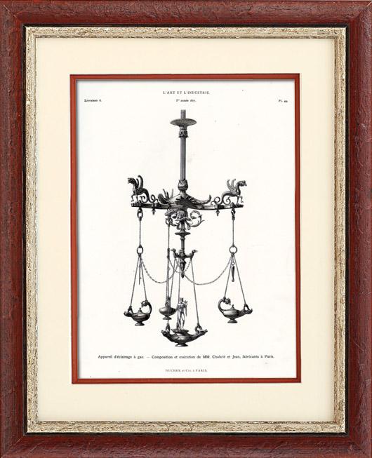 gravures anciennes appareil d 39 eclairage gaz mm chabri et jean paris typogravure 1877. Black Bedroom Furniture Sets. Home Design Ideas